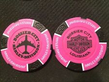 "Harley Davidson Poker Chip  (NEON Pink & Black) ""Bossier City"" Louisiana"