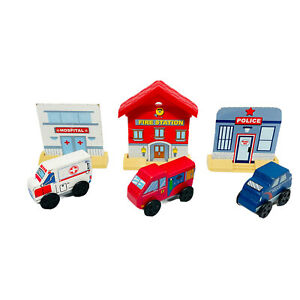KidKraft Wooden Trains Buildings Police Fire Station With Cars