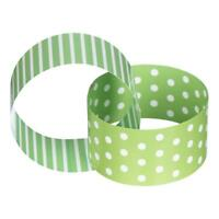 GREEN & WHITE PAPER CHAIN STRAW TOPPERS UMBRELLA PICKS STRIPES DOTS PARTY PACK