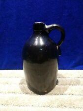 Vintage  glazed Dark  brown Stoneware Whiskey Jug