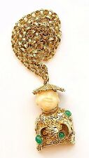 ART FIGURAL HAPPY CHINA MAN PENDANT AND NECKLACE W/ RHINESTONES~BOOK PIECE~