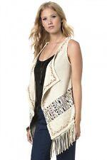 NWT Women's Miss Me Off White Embroidered Fringe Vest Size Medium Acrylic