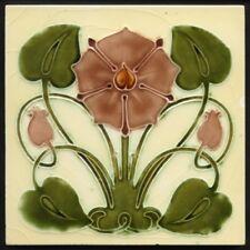 TH3543 Very Rare 'Tudor Rose' Art Nouveau Majolica Tile J & W Wade c.1905