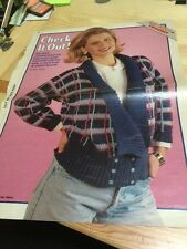 Vintage Ladies Jacket Crochet Pattern - Checked, Knitted Collar, Welts