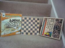 WWF WOODEN GAMES SET 4-IN-1 WITH A WOODEN CHESS SET A FANTASTIC SET IN BOX