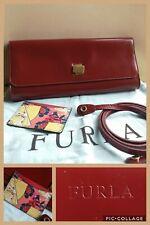 FURLA Red Fine Calf Leather Clutch With Dustbag & Cardholder Shoulder Strap VGC