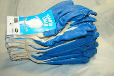 10 Pairs String Knit Blue Latex Rubber Palm Coated Work Safety Glovenew