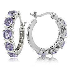 Hoop Amethyst Sterling Silver Fine Earrings