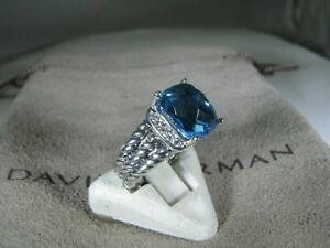 DAVID YURMAN AUTENTIC 10X8MM BLUE TOPAZ PETIT WHEATON DIAM RING SIZE 5 DY POUCH