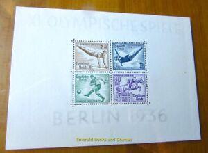 EBS Germany 1936 - Berlin Olympics - Michel Block 5 MH* cv $79.00