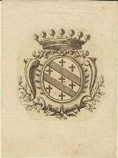 EX-LIBRIS HÉRALDIQUE 18ème CROUZET DE RAISSAC - TOULOUSE (HAUTE-GARONNE)