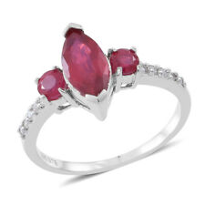 Niassa RUBY Trilogy, Cambodian Wht ZIRCON RING in Plat / Sterling Silver 3.6Cts.