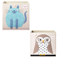 3 Sprouts Children's Fabric Storage Cube Bundle with Blue Cat and Friendly Owl