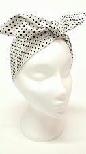 Rockabilly Headscarf Headband Bandana White Black Polka Dot Spot Hair Tie