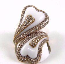 A Forma di Cuore Bianco Agata & Diamante By-Pass Anello 14k Oro Giallo 9.93Ct