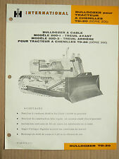 Prospectus IH INTERNATIONAL Tracteur Chenilles TD20 S200 MAC CORMICK Brochure TP