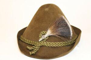 Handcrafted Brown Wool Felt Tyrolean Alpine Bavarian European Alps Hat