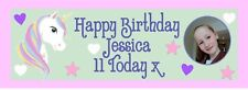 Unicorn PHOTO PERSONALISED Birthday Banner - pack of 2 Girl - Add Name and Photo