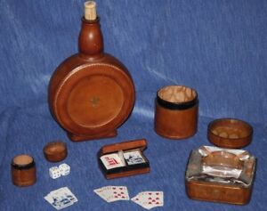 Leather bound   Gamblers Set   Bottle  Glass Ashtray Cards Dice      Italy