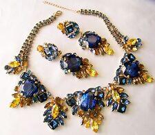 Juliana Style Couture CZECH Rhinestone & Glass Blue & Topaz Bib & Earring Set