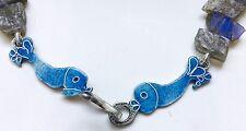 Labridorite fish cloissone enamel clasp necklace