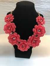 Coral Flower with Crystal Center and gold chain statement necklace - RETAL $80