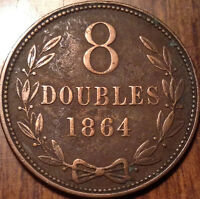 1864 GUERNESEY 8 DOUBLES IN GREAT CONDITION !!!