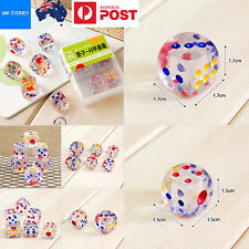 School Dotted Dice Transparent Set of 12pcs Assorted Colour School Board Game