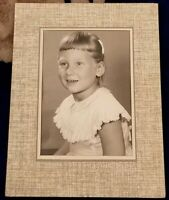 1950s vintage 5x7 photo Portrait of Young Girl  Black & white short bangs blond