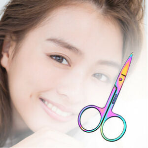 2X Stainless Steel Eyebrow Scissors Hair Removal Trimmers Curved Clipper Cutter