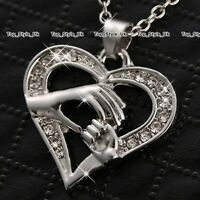 Mother and Daughter Necklace Gifts for Her Mum Crystal Heart Silver Presents C3