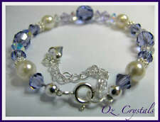 Baby / Girl's Bracelet made with Swarovski Tanzanite, Pearls & Sterling Silver