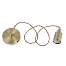 Antique Brass Ceiling Rose  Braided Flex Pendant Lamp Holder Light Fitting Home