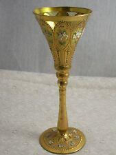 Antique Moser art glass goblet gold gilded beautiful flute shape