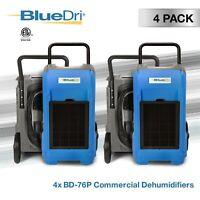 4 Pack BlueDri BD-76P 150PPD Industrial Grade Commercial Dehumidifier, Blue