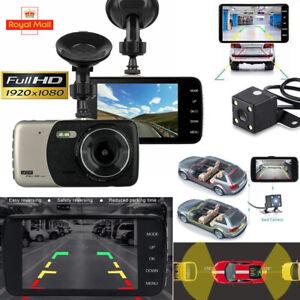 "4"" 170° Car Camera Recorder Dual Front and Rear HD 1080p Dash Cam Night Vision"