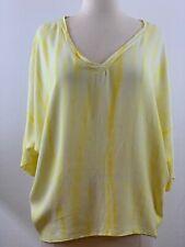TESTAMENT Women's Size XS Yellow Tie Dye High Low Top Dolman 3/4 Sleeves. NWOT