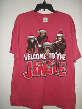Gildan Mens Size XL WELCOME TO THE JUNGLE Red Christmas Santa Hat Monkeys T Shir