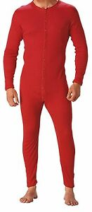 The Original Red Union Suit 100% Cotton One Piece Coverall / Long John Underwear