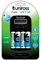 UNiROSS LCD 1-2 HOUR CHARGER + 4 x AA 2600 SERIES BATTERIES