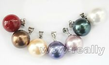Wholesale Lots 7PCS Colorful 14mm Round Sea Shell Pearl Necklace Pendant