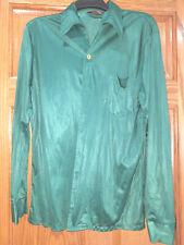 New listing Vintage Antonio Basso Clubman Men's Button Down Dark Green Nylon Shirt L Disco?