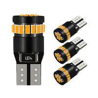 4Pcs Amber Yellow T10 LED Car Side Marker Parking Light Bulb 194 168 158 3014