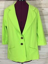 Neon Buddha Green ¾ Sleeve Cotton Blazer Jacket Size L
