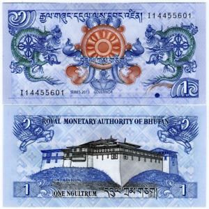 Bhutan 1 Ngultrum 2013 Uncirculated Banknote Currency Money