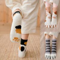 Women Girl Winter Warm Cat Claws Print Soft Plush Coral Fleece Floor Sleep Socks