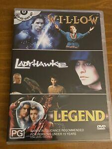 WILLOW/LADYHAWKE/LEGEND TRIPLE FEATURE DVD's. Region 4.