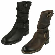 100% Leather Casual Mid-Calf Boots for Women
