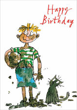 Happy Birthday Muddy Rugby Football Boy with Cat Greeting Card By Quentin Blake