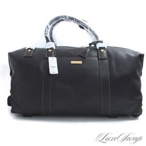 NWT #1 MENSWEAR $398 Brooks Brothers Brown Grained Leather Weekender Bag Wheels